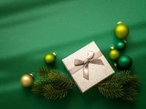 Christmas decoration background green with gift box stock images