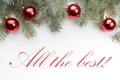 Christmas decoration background with message `All the best!` Royalty Free Stock Image