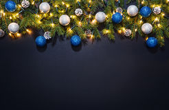 Christmas decoration background over black chalkboard Royalty Free Stock Photos