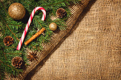 Christmas decoration background over linen cloth. Royalty Free Stock Images