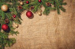 Christmas decoration background over linen cloth. Royalty Free Stock Photos