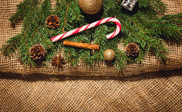 Christmas decoration background over linen cloth. Stock Image