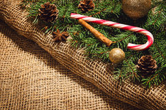 Christmas decoration background over linen cloth. Stock Images