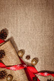 Christmas decoration background over linen cloth. Royalty Free Stock Photography