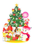 Christmas decoration background with a presents and santa claus - Creative illustration eps10. Cute merry christmas decoration objects Royalty Free Stock Photo