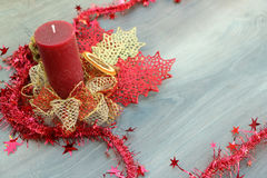 Christmas decoration background - red and gold design Stock Photo