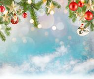 Christmas decoration background with stars and christmas ornaments. Free space for your text Stock Photo