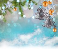 Christmas decoration background with stars and christmas ornaments. Free space for your text Royalty Free Stock Image