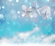 Christmas decoration background with stars and christmas ornaments. Free space for your text Stock Photography