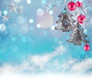 Christmas decoration background with stars and christmas ornaments. Free space for your text Stock Image