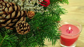 Christmas decoration background with tree and candle stock footage