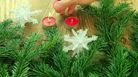 Christmas decoration background with tree and candles stock video footage