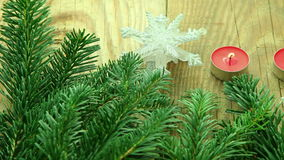 Christmas decoration background with tree and candles stock footage