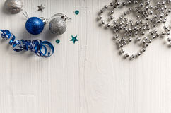 Christmas decoration on a background of white painted rustic boa Royalty Free Stock Image