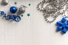 Christmas decoration on a background of white painted rustic boa Stock Photo