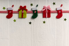 Christmas decoration on a background of white painted rustic boa Royalty Free Stock Photo