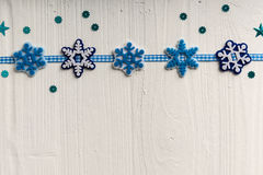 Christmas decoration on a background of white painted rustic boa Royalty Free Stock Photos