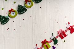 Christmas decoration on a background of white painted rustic boa Stock Images