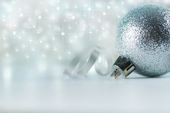 Christmas decoration background. xmas and christmas gifts, new year ornaments, silvery shining star on white backdrop copy spaces stock photos