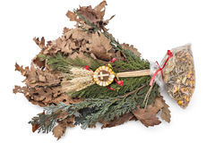 Christmas decoration. Badnjak - Yule-log, mistletoe, fir branches, wheat, Serbian Christmas stock photo