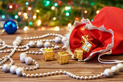 Christmas decoration and bag with gift Stock Photos
