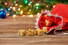 Christmas decoration and bag with gift Stock Photo