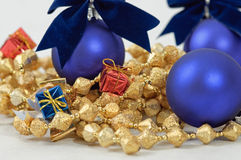 Christmas decoration - ball, gifts. Photo of christmas decoration on white background stock photos
