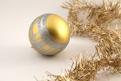 Christmas decoration ball. Golden and silver color Christmas ball decoration soft white background Stock Images