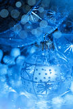 Christmas decoration ball in neon light Royalty Free Stock Photo