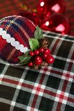 Christmas decoration ball Scottish pattern Royalty Free Stock Image