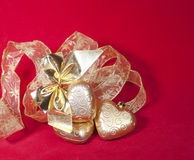 Christmas decoration- ball in shape a heart with ribbon Royalty Free Stock Photos