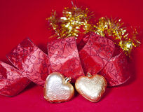 Christmas decoration- ball in shape a heart with ribbon Stock Photo