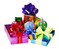 Christmas decoration of balloons and gifts Royalty Free Stock Image
