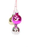 Christmas decoration balls. Three christmas decoration balls hanging Royalty Free Stock Photography