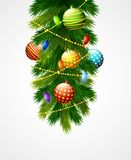 Christmas decoration with balls, baubles and fir branches. Illustration of Christmas decoration with balls, baubles and fir branches Stock Photo