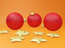 Christmas Decoration Balls Baubles and Golden Stars. This 3D illustration shows three red Christmas bauble balls amidst some Christmas decoration golden stars stock photography