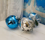 Christmas decoration balls and bells blue and white Royalty Free Stock Images