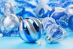 Christmas decoration balls on blue Stock Image