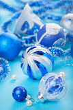 Christmas decoration balls on blue Stock Photography