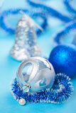 Christmas decoration balls on blue Stock Images