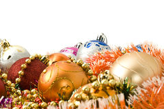 Christmas decoration balls and bright tinsel Royalty Free Stock Photos