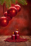 Christmas decoration - balls and candles Stock Photos