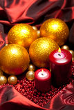 Christmas decoration - balls and candles Royalty Free Stock Image