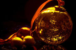 Christmas decoration balls. Close-up on gold background Royalty Free Stock Images