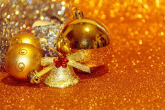 Christmas decoration balls close-up. On gold background Royalty Free Stock Images
