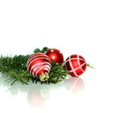 Christmas decoration balls. Christmas elegant red decoration balls with tree branches, festive concept royalty free stock images