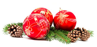 Christmas decoration balls with fir cones Royalty Free Stock Image