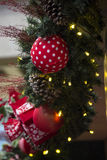 Christmas decoration with balls, flowers, baskets, tree and ligh Royalty Free Stock Photos