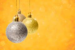 Christmas decoration balls on golden background Stock Photography