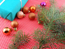 Christmas decoration and balls, new year tree branch Royalty Free Stock Images